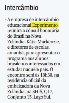 braziliense intercâmbio experimento